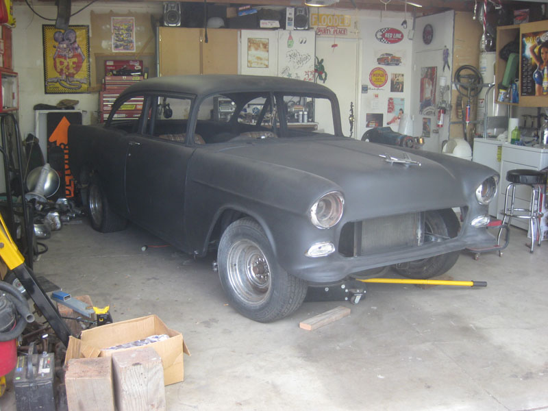 Black Primer on Kyle's 1955 Chevy