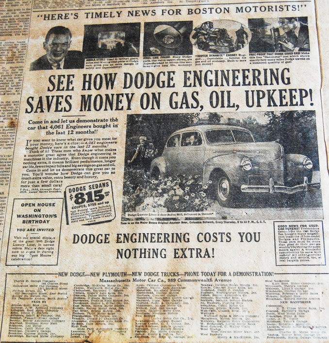 1940 Dodge Newspaper Ad