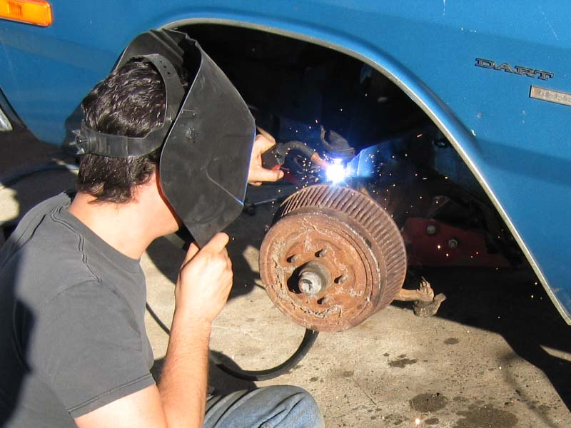 Welding Spindles on a Dodge Dart Sport Parts Car